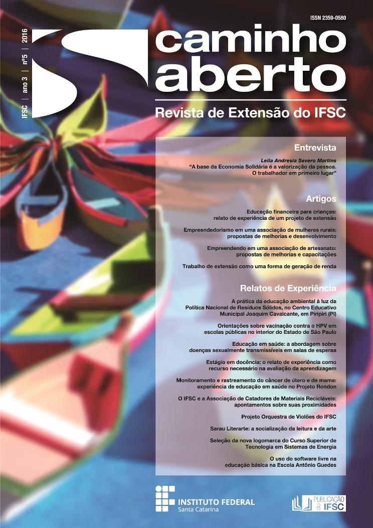 Capa da Revista Caminho Aberto - IFSC | Ano 3 | número 5 | 2016